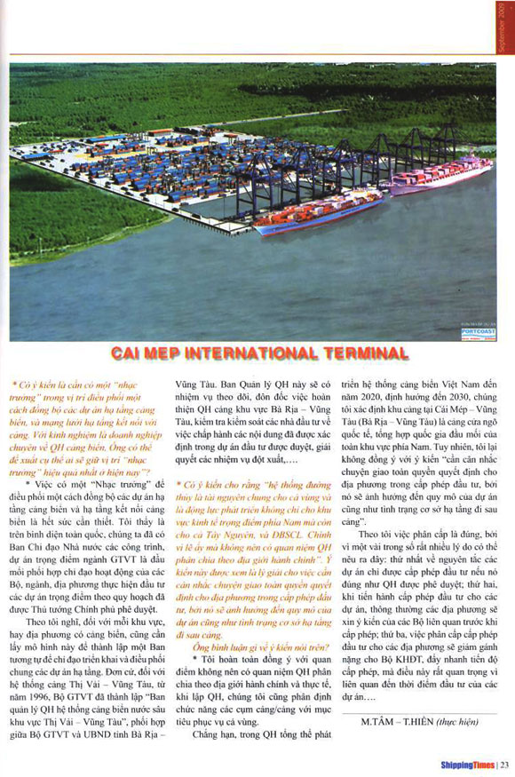 Portcoast has completed the Vietnam's Sea Port System Planning Project
